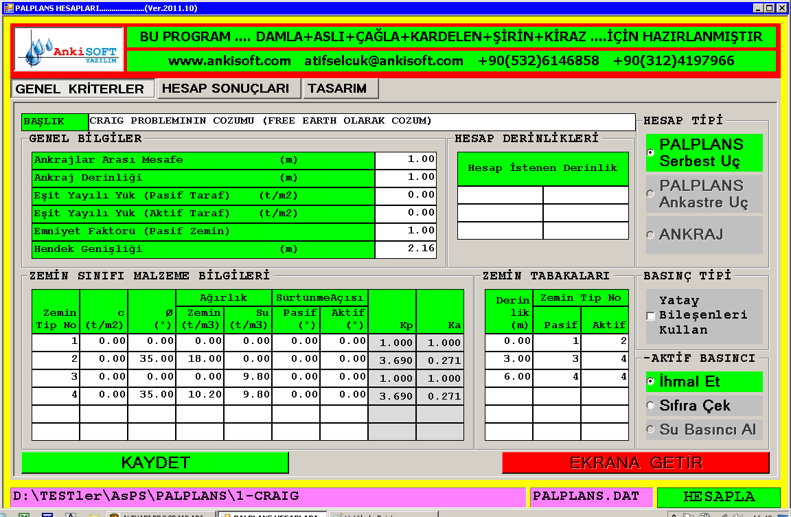 AnkiSOFT Yazılım - PALPLANS - Palplanş Perde Duvar Tasarım Analiz Programı